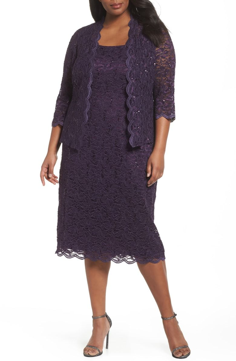 8ca2a41bd5d7c Free shipping and returns on Alex Evenings Lace Dress   Jacket (Plus Size)  at Nordstrom.com. Glimmering sequins scatter across the rich embroidered  lace ...
