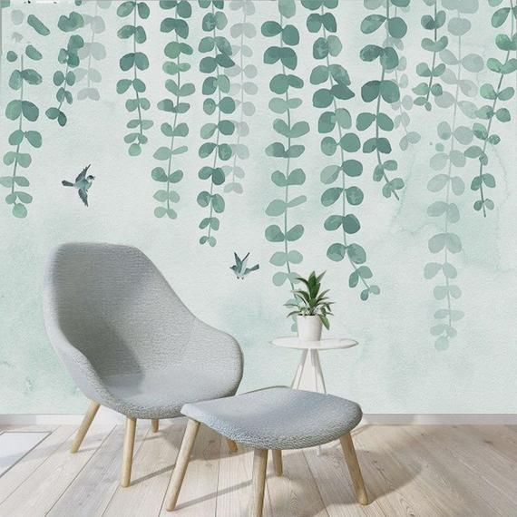 hanging olive green leaves wallpaper wall mural,green vine branchhanging olive green leaves wallpaper wall mural,green vine branch watercolor wallpaper wall murals,