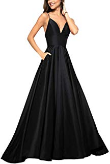 JASY Womens Spaghetti Satin Long Black Prom Dresses with Pockets