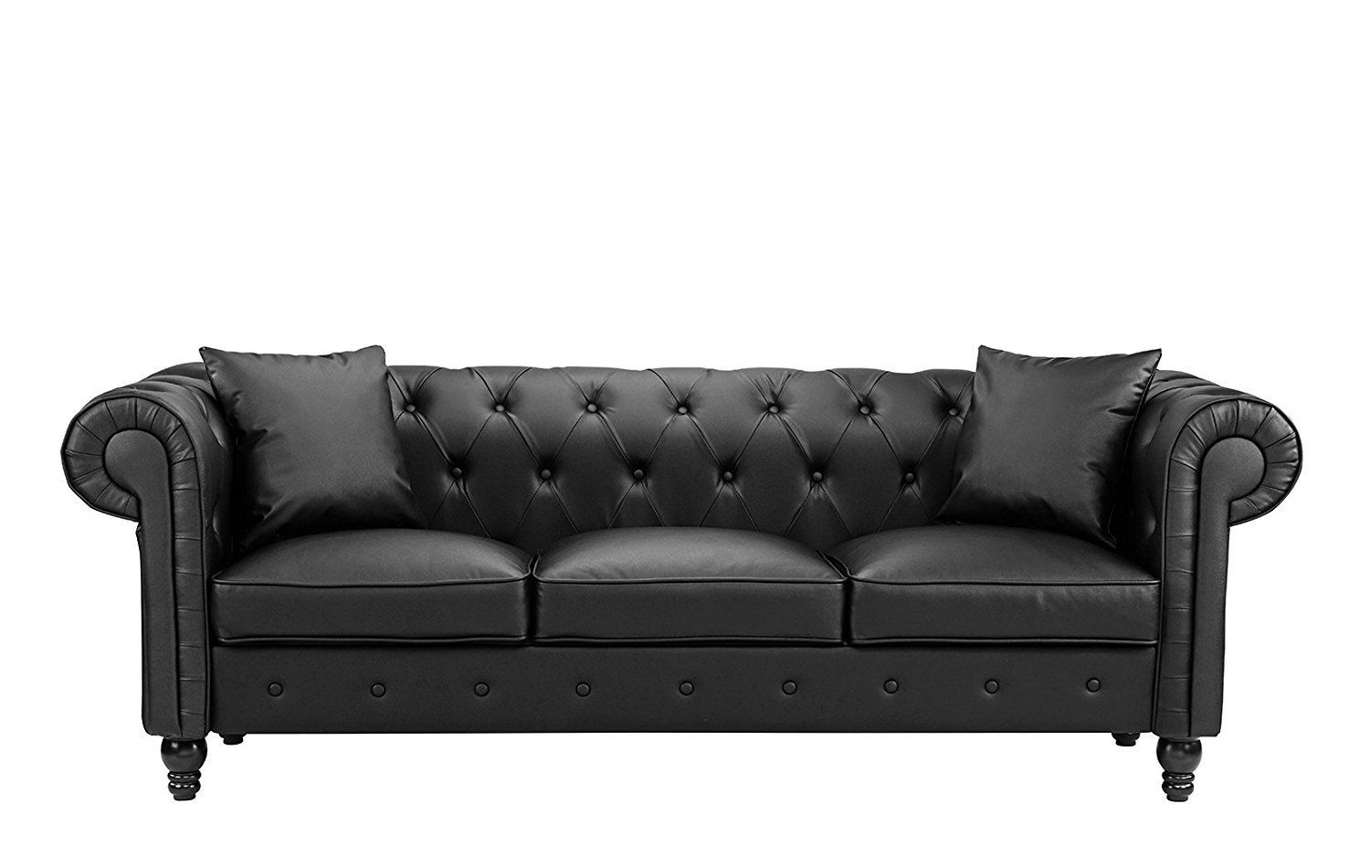 Fabulous New Century Black Victorian Bonded Faux Leather Living Room Alphanode Cool Chair Designs And Ideas Alphanodeonline