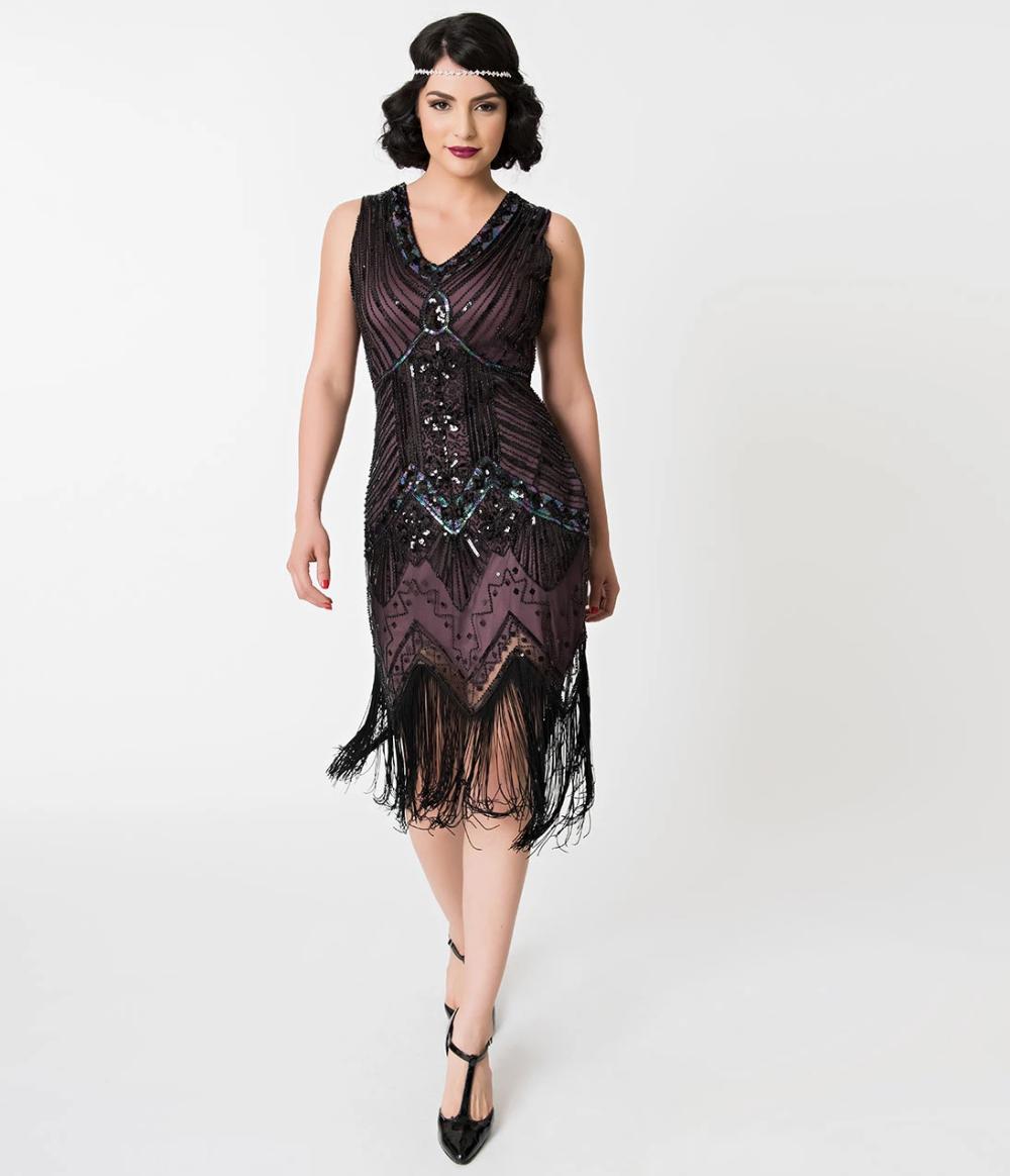 Unique Vintage 1920s Deco Purple Black Sequin Veronique Fringe Flapper Dress Great Gatsby Prom Dresses Fringe Flapper Dress Purple Flapper Dress [ 1164 x 1000 Pixel ]