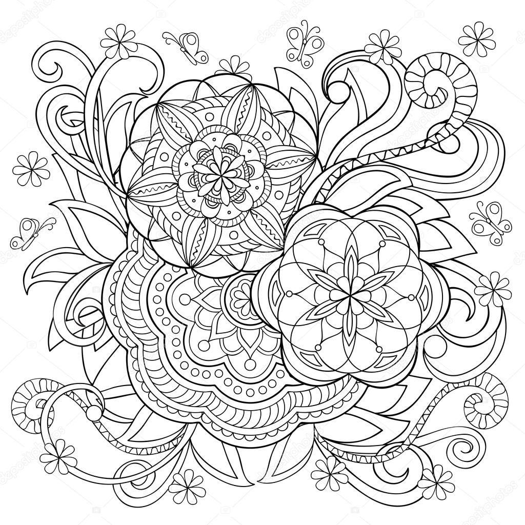 ręcznie rysowane monochromatycznego druku doodle kwiaty i