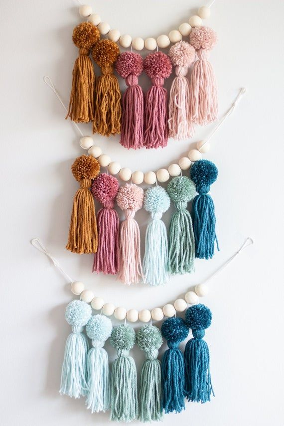 Earth Tone Rainbow Pom Pom Tassel Garland. Nursery and Kids Room Decor. Party Decorations. Ombre Yar