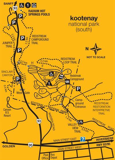 Map of the village of Radium British Columbia  camping