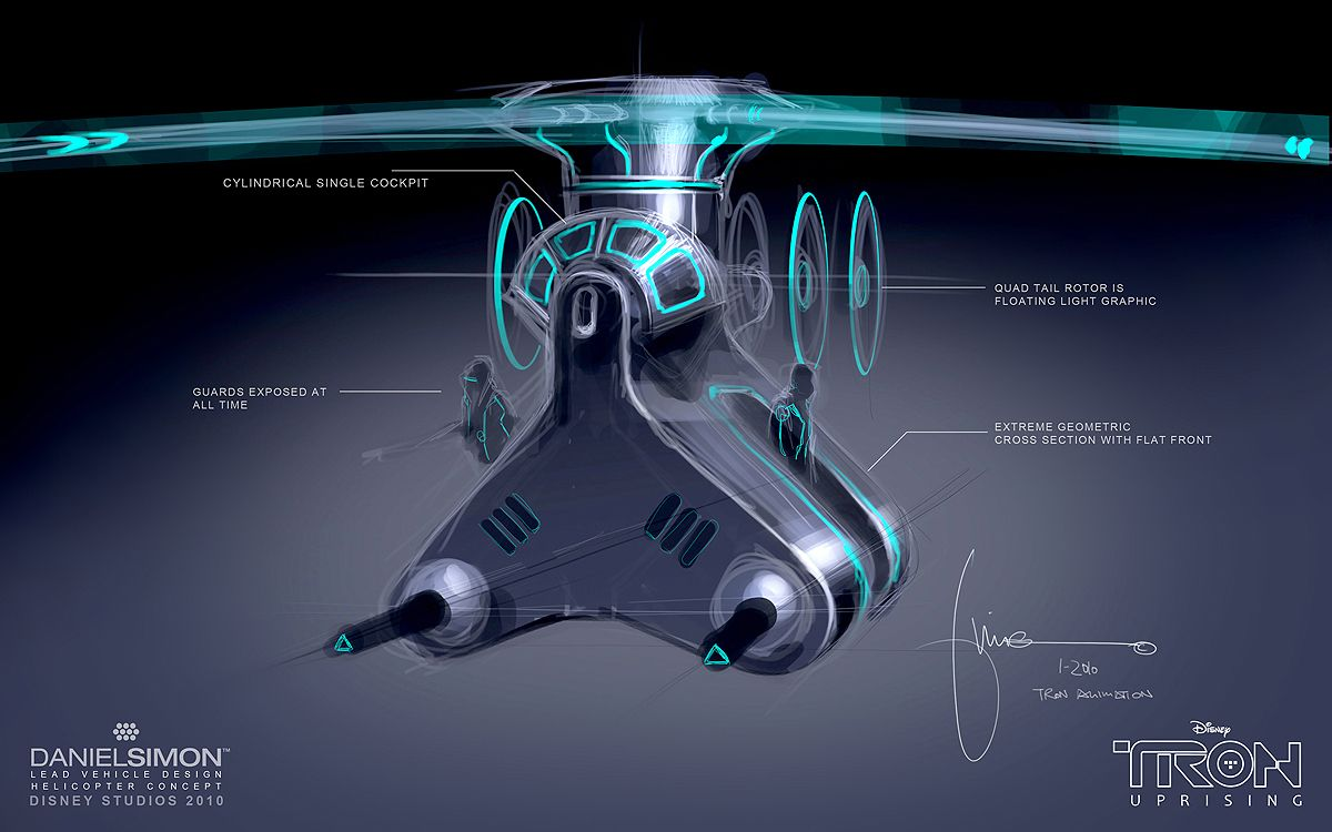 Tron Uprising - concept art   Designer: Daniel Simon