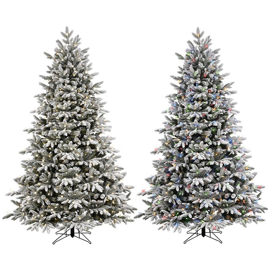 GE 7.5-ft Pre-Lit Alaskan Pine Flocked Artificial Christmas Tree ...