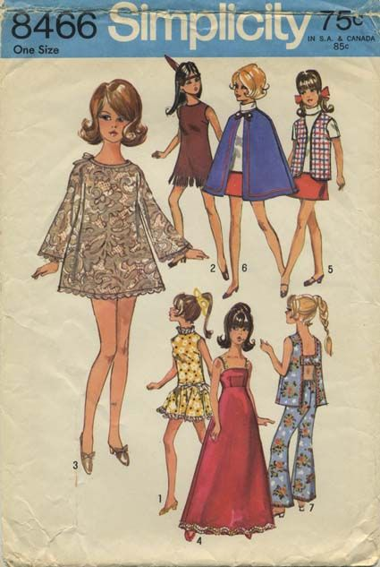Vintage Barbie™ Doll Clothes Sewing Pattern | Wardrobe suitable for ...