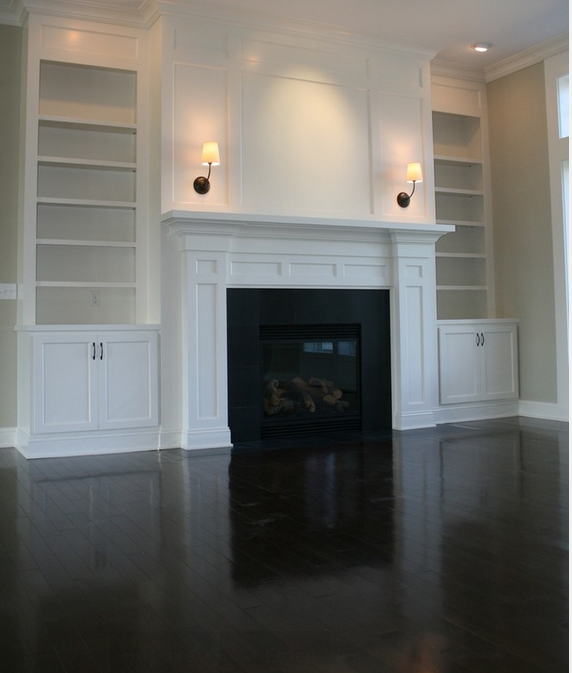 Fireplace With Built-in Bookshelves