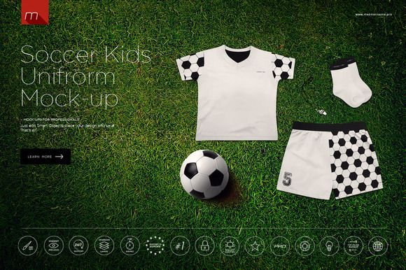 f01473a3d Soccer Kids Uniform Mock-up by mesmeriseme.pro on Creative Market ...