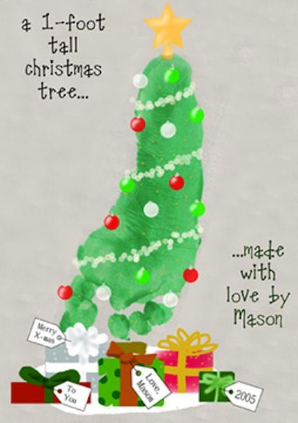 Footprint Christmas Tree Craft | Christmas... | Pinterest ...