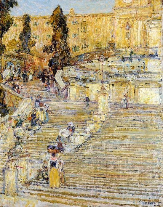 Armand Guillaumin U2014 Childe Hassam: The Spanish Steps, Rome, 1897,.