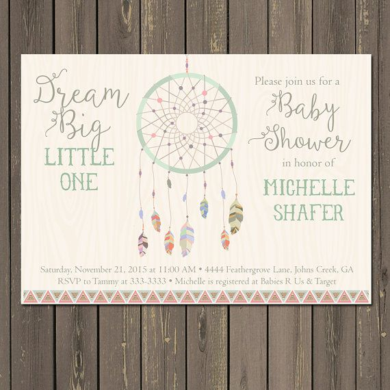 baby shower invitation tribal boho shower invite feather baby shower