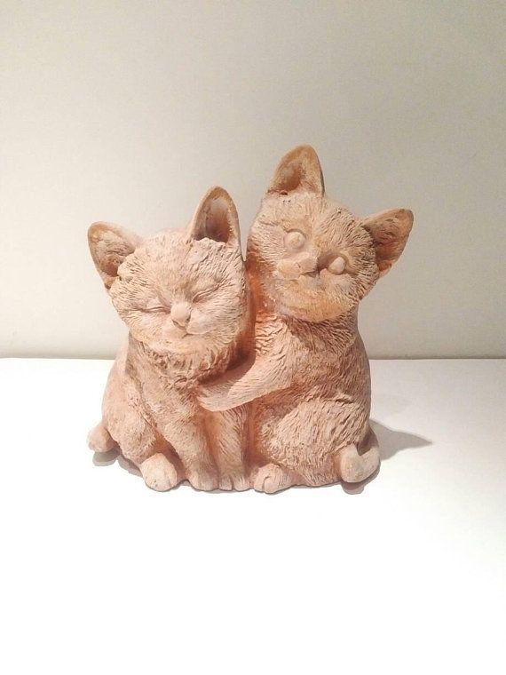 Tiny cat ornament, pottery cat, Miniature garden, gardening decor ...