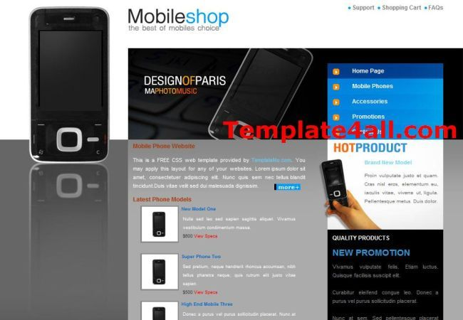 Best Mobile Shop Templates - Free Mobiles CSS Template Design ...