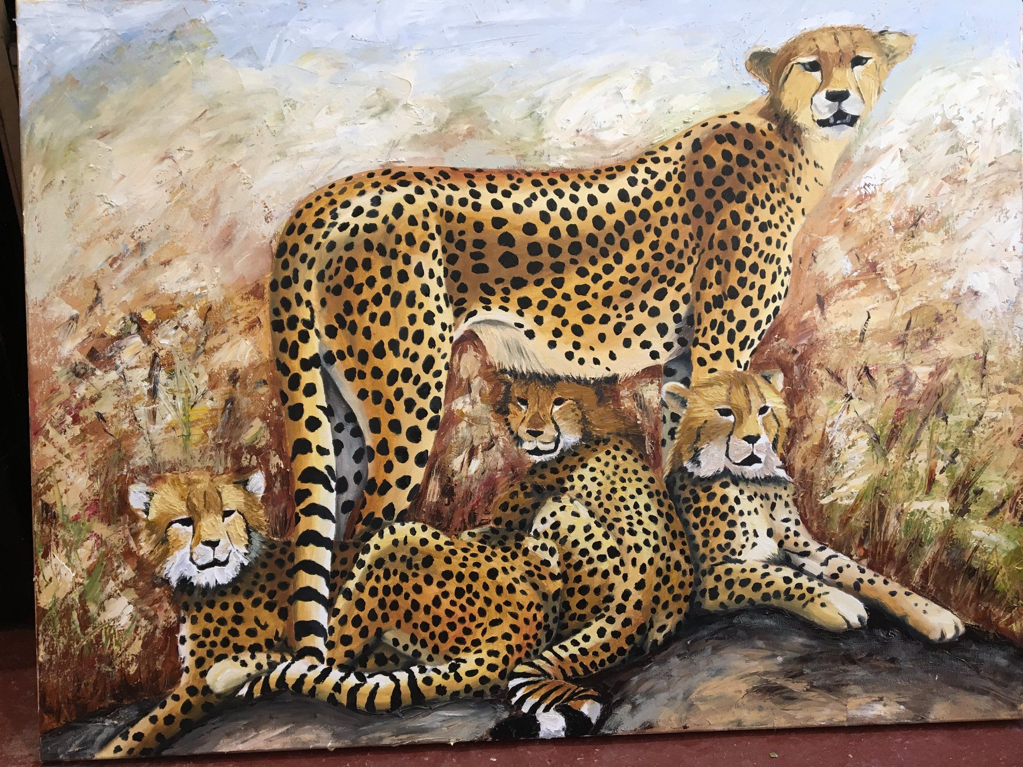 """Cheetah and Cubs Oil on Canvas 40"""" x 30"""" Prints available"""
