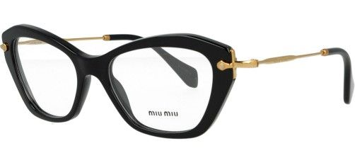 Occhiali da vista Miu Miu - Modello 04 LV - Forma: Gatto - Genere: Donna - Materiale: Acetato - Colore: Nero - Calibro: 52