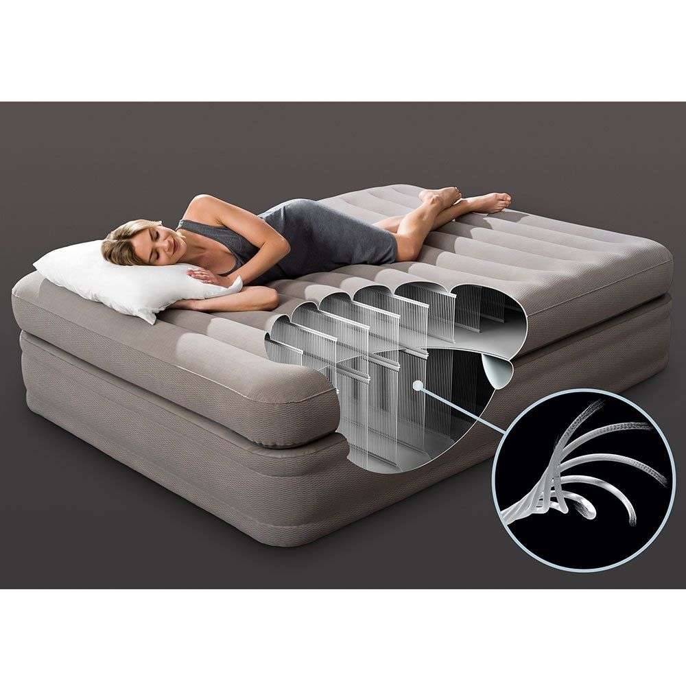Intex 64443ep Prime Comfort Gray Elevated Air Mattress With Built
