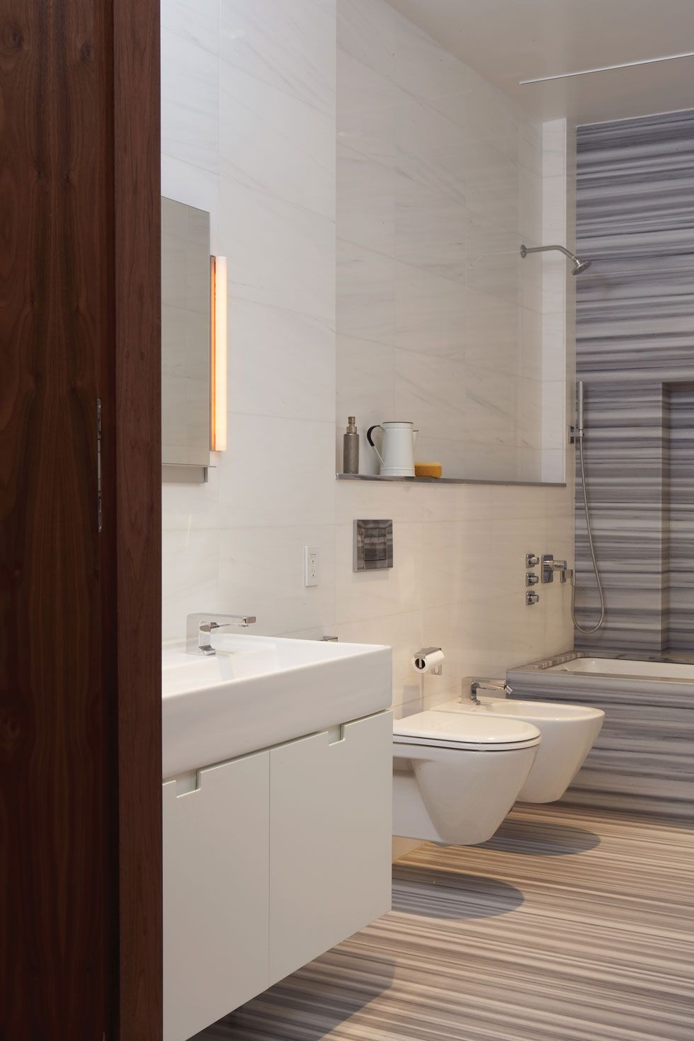 Bianco dolomite wall tile around tub; good with blue | Bathrooms ...