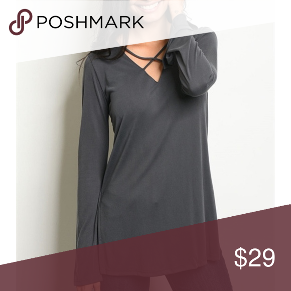 Intersecting Lines Modal Top In Charcoal The Clean Lines