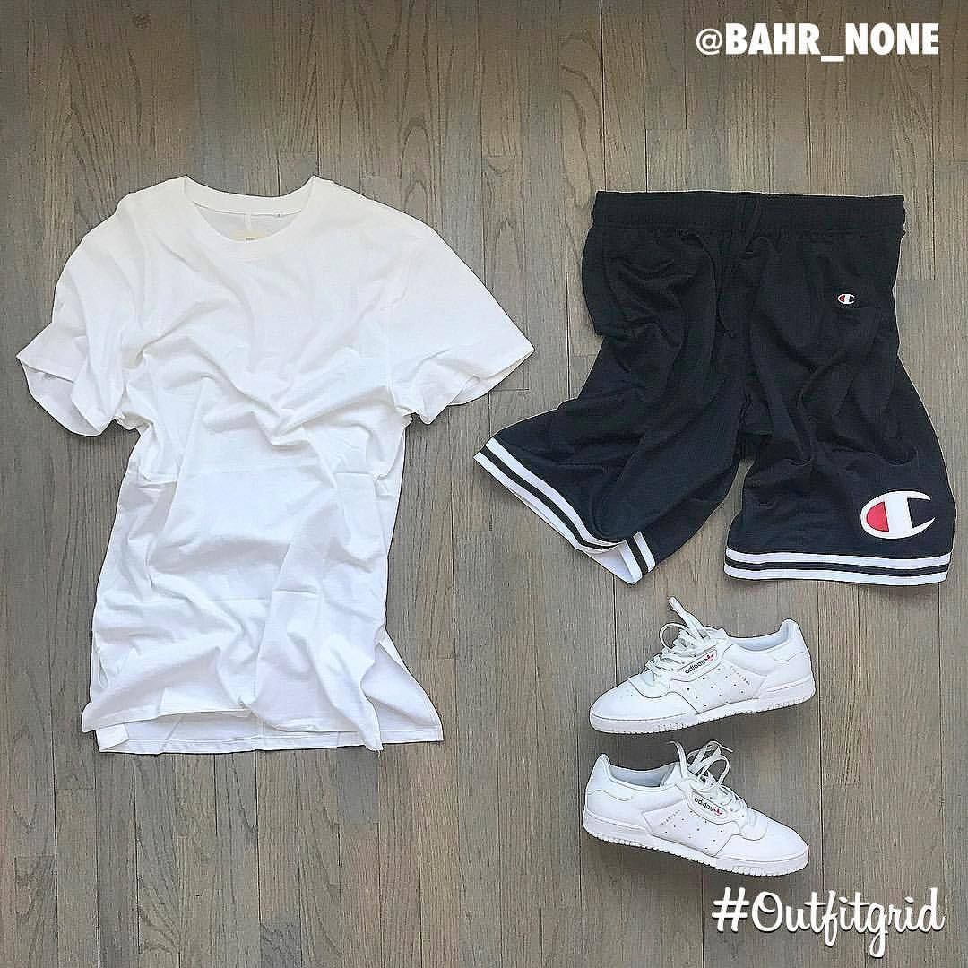 4bb1b6e130d Today s top  outfitgrid is by  bahr none. ▫  FOG  Tee ▫  Champion  Shorts ▫   Adidas x  Kanye  Calabasas  Powerphase