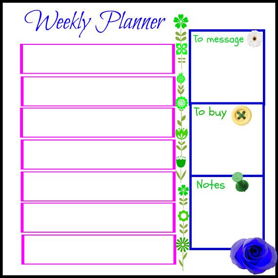 Weekly Planner Printable GreenPink Weekly Task  Printables I