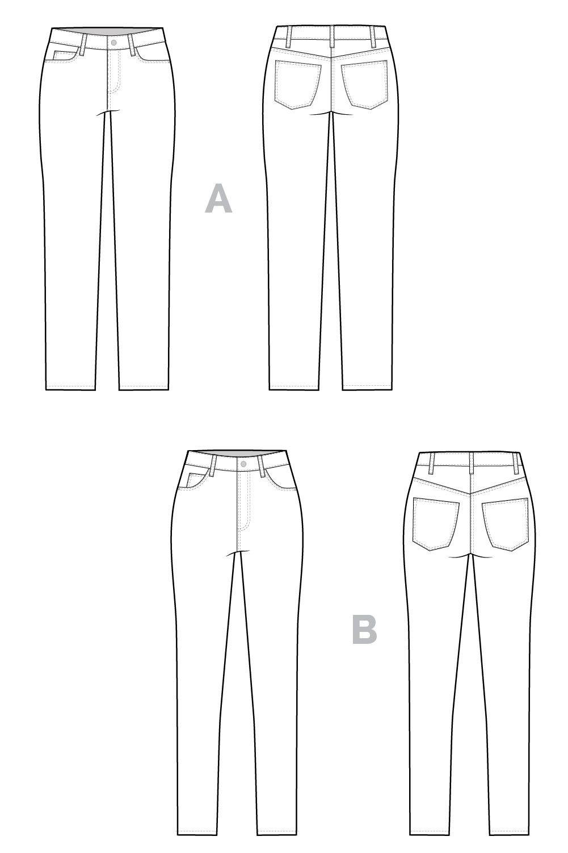 Ginger skinny jeans pattern | Nähen