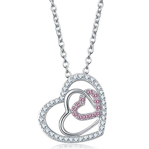 Caperci sterling silver pink cubic zirconia and diamond accents caperci sterling silver pink cubic zirconia and diamond accents triple heart pendant necklace aloadofball Images
