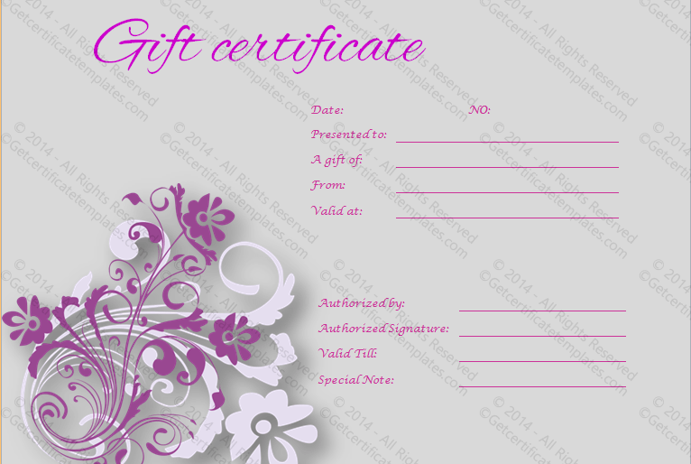 Girly Gift Certificate Template Doc Formats Gift Certificate Template Gift Certificate Template Word Certificate Templates