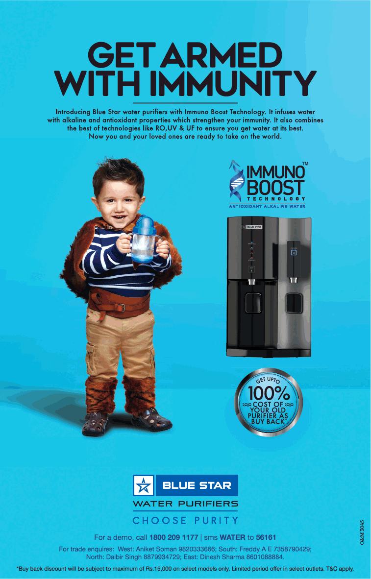Blue Star Water Purifiers Immuno Boost Ad Times Of India Mumbai 20 07 2018 Water Purifier Blue Star Purifier