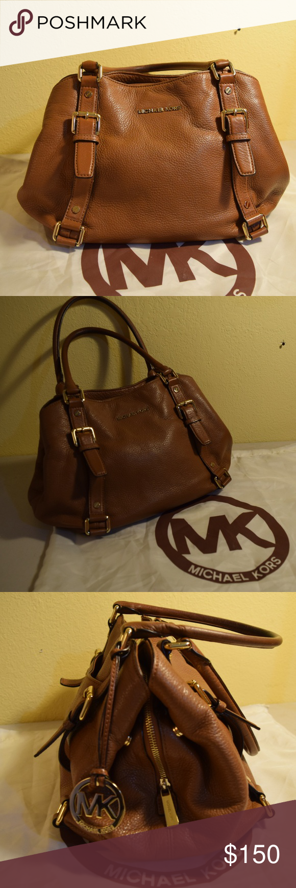 Michael Kors Medium Satchel Acorn Camel Sized Small Authentic In Gold Hardware Duster Bag Included