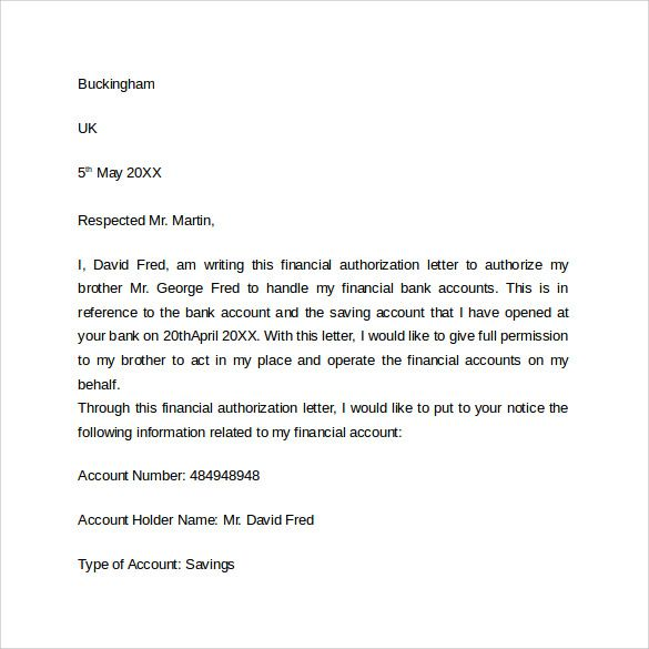 sample bank authorization letter free documents pdf word format - sample bank authorization letter