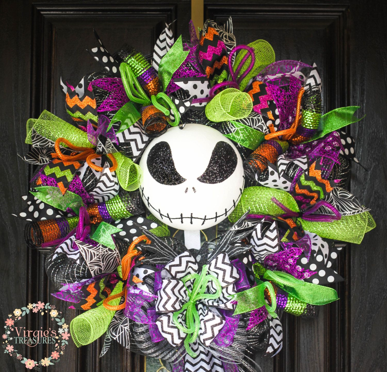 Jack Skellington Wreath. Halloween Wreath, Colorful Halloween Wreath by VirgiesTreasures on Etsy