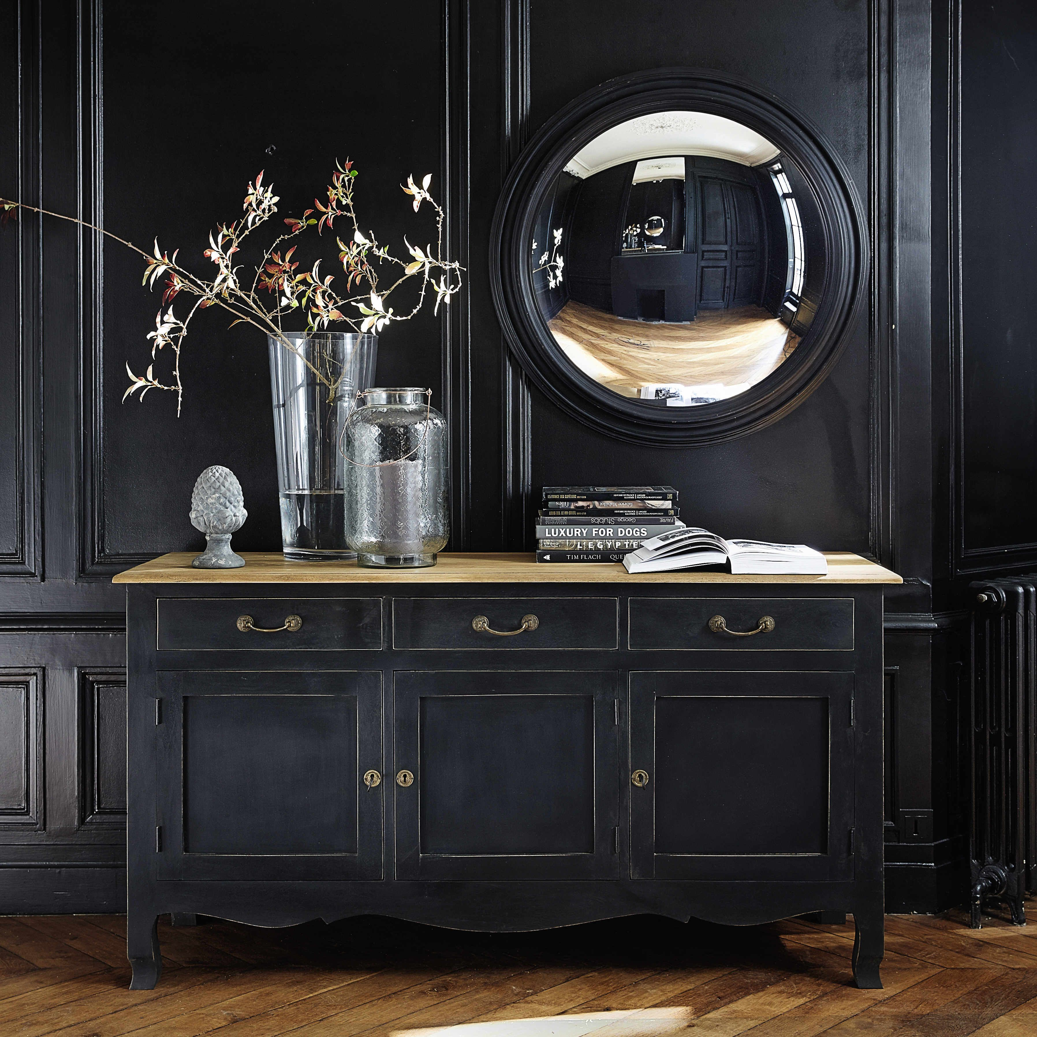 miroir convexe en bois noir d 90 cm vendome maisons du monde salle manger pinterest. Black Bedroom Furniture Sets. Home Design Ideas