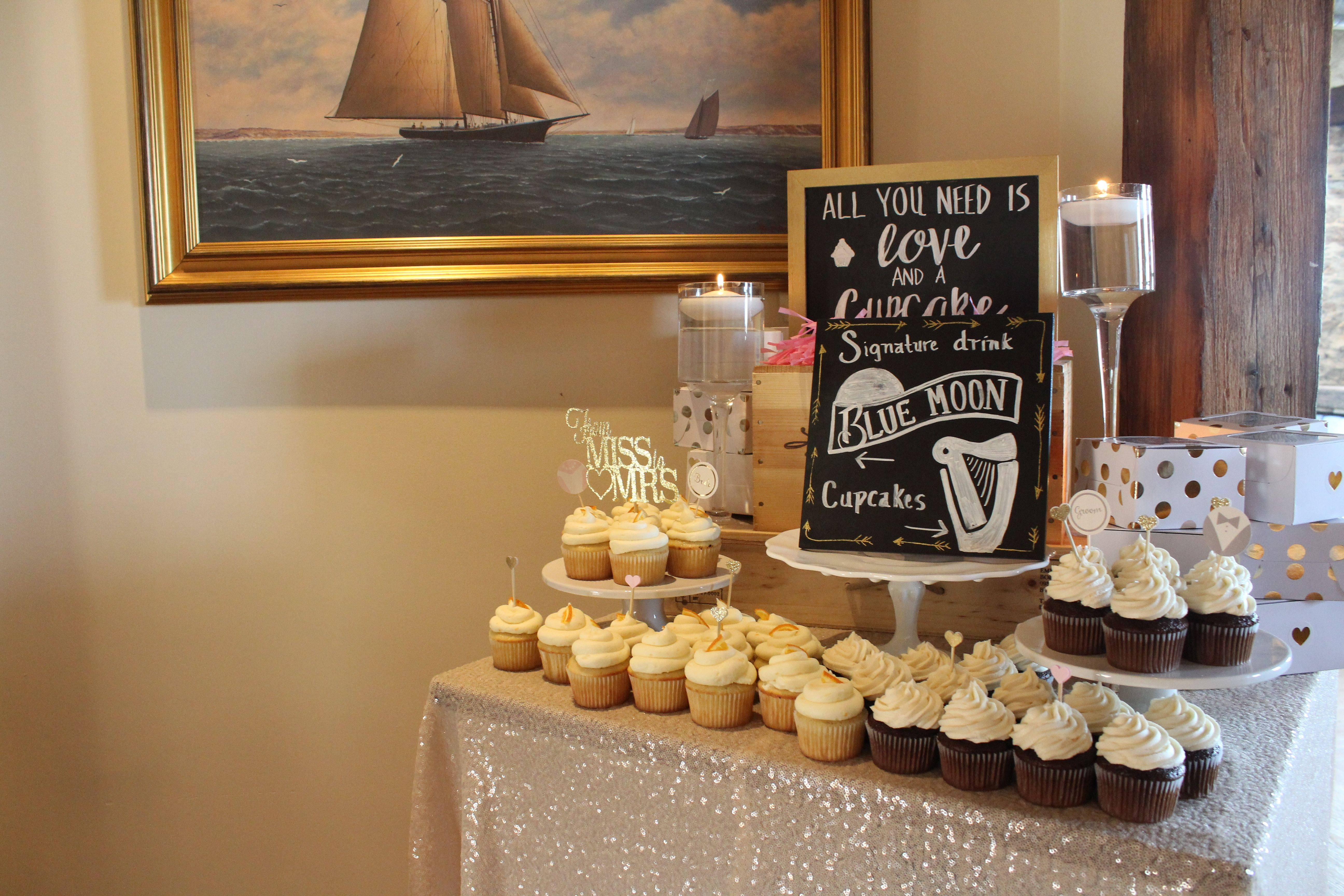 Sequins, cupcakes, chalkboard, cake stands, decorative boxes