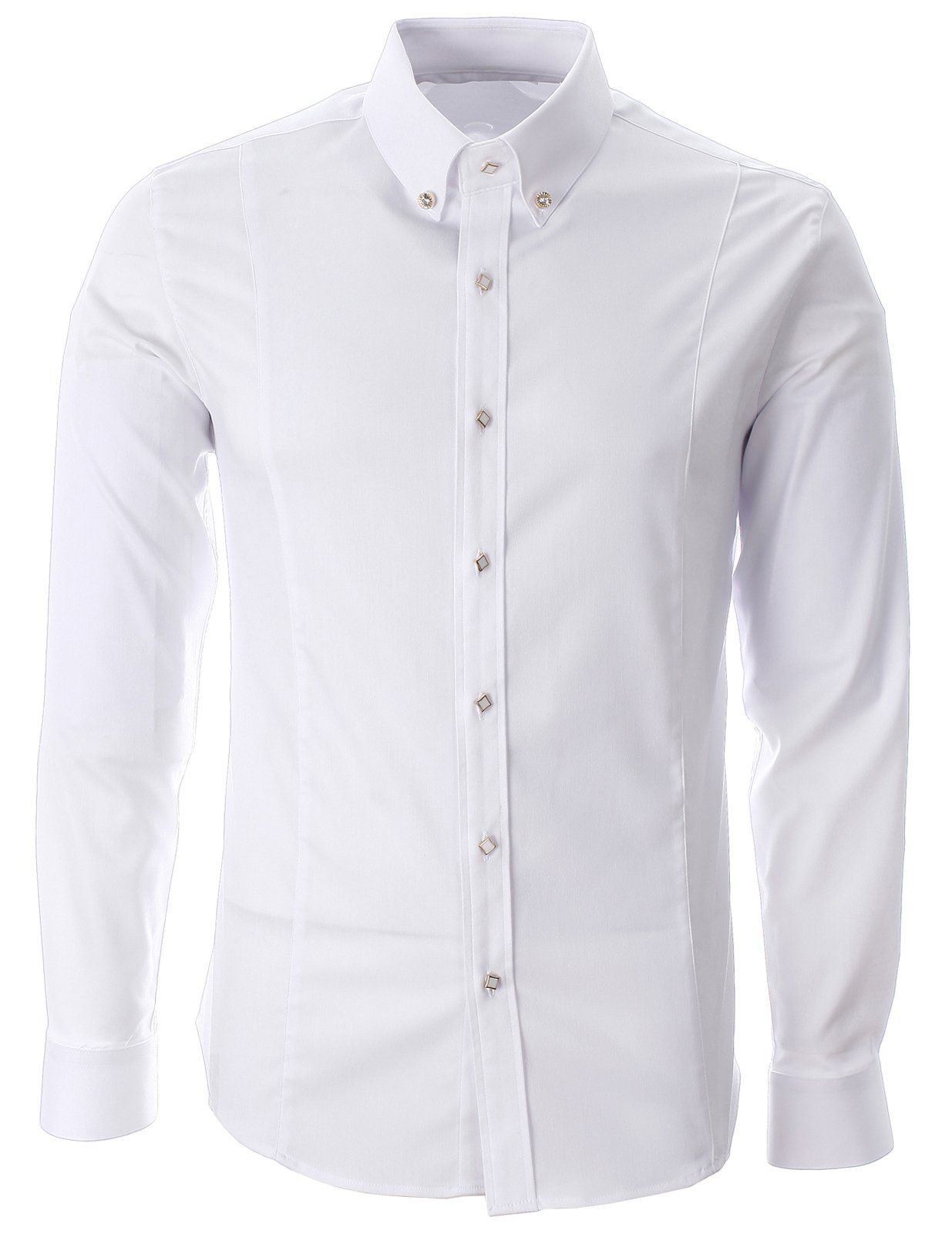 FLATSEVEN Mens Square Point Button Dress Shirt at Amazon Men's ...