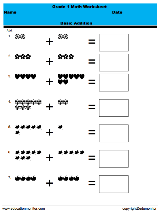 1st Grade Edumonitor Printable Math Worksheets Free Printable Math Worksheets Math Worksheets