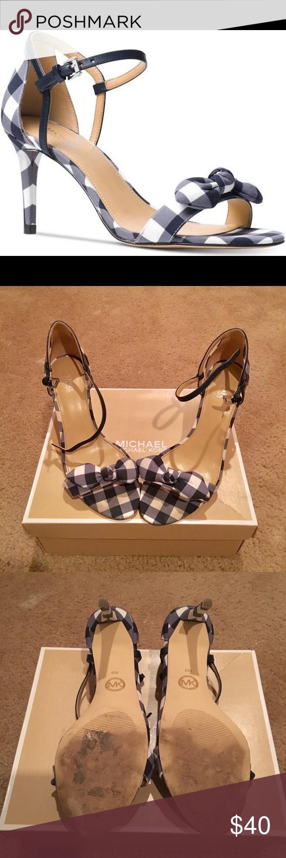 d50c28eb4aa Spotted while shopping on Poshmark  Women s Michael Kors Plaid Blue   White  Heels!  poshmark  fashion  shopping  style  Michael Kors  Shoes