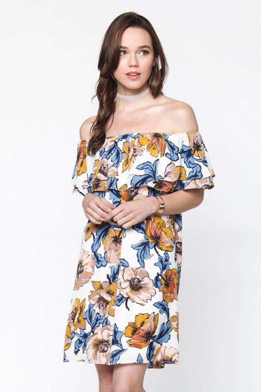 197c44bce63 Everly Clothing Off the Shoulder Floral Dress in Beige