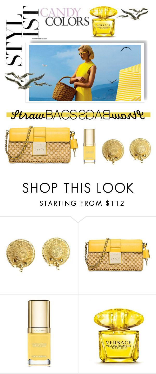 """""""Bright in Yellow"""" by lovaconsultancy on Polyvore featuring mode, Chanel, MICHAEL Michael Kors, Dolce&Gabbana, Versace et strawbags"""