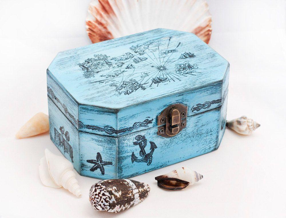 Sea Treasury Pirate Wooden Box-$28