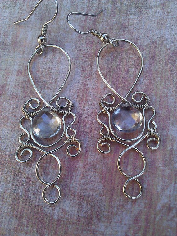 Mystic Earrings--very pretty, lots of well done wirework and great stones!