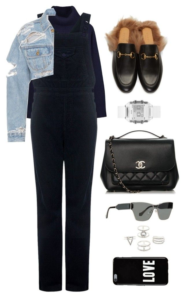 """""""Untitled #10796"""" by katgorostiza ❤ liked on Polyvore featuring Ille De Cocos, AG Adriano Goldschmied, GUESS, Gucci, Chanel, Balenciaga, Charlotte Russe and Givenchy"""