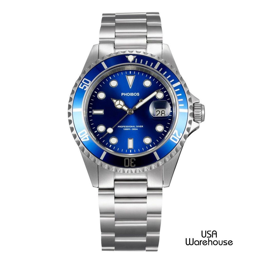 32f62870dec Phoibos PX002B 300M Pro Dive Watch Swiss Quartz Blue Sport Watch ...