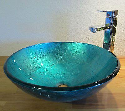 Bad Gaste Wc Waschtisch Aufsatz Glas Waschbecken Waschschale Blau