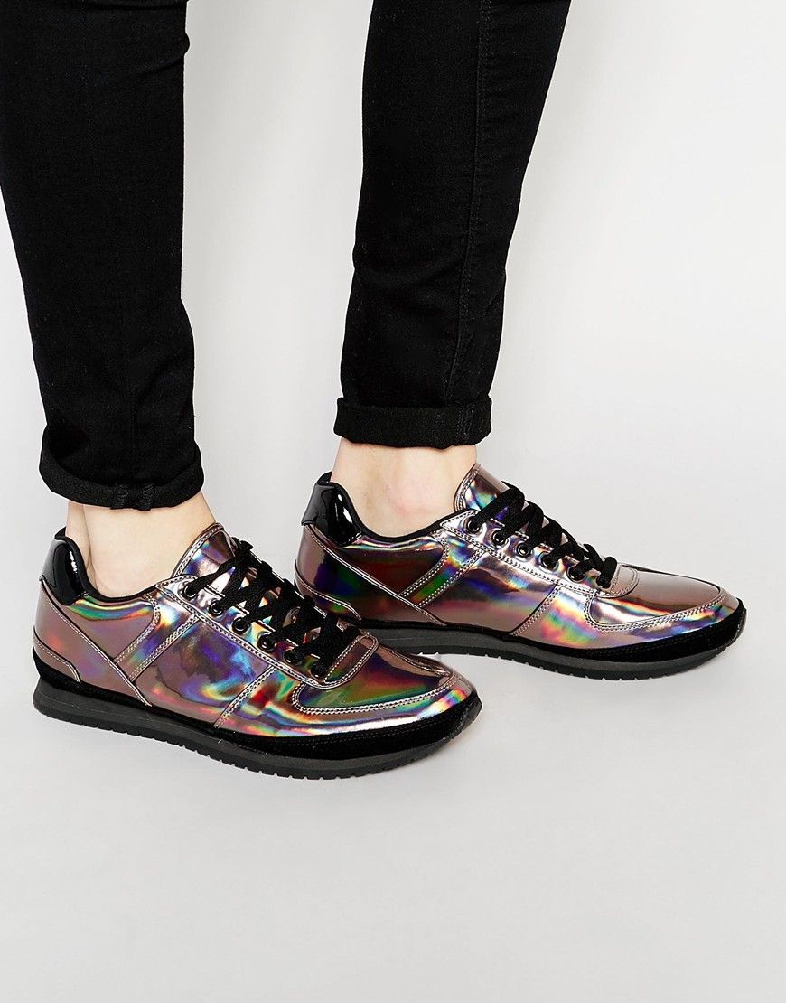 ASOS Lace Up Trainers in Silver Iridescent