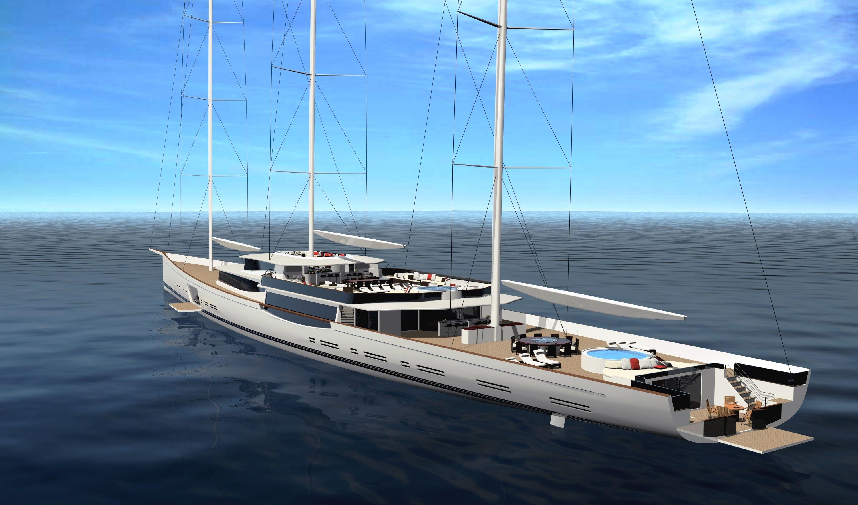 Luxury sailboats 100m mega sailing yacht by design for Yacht dekoration