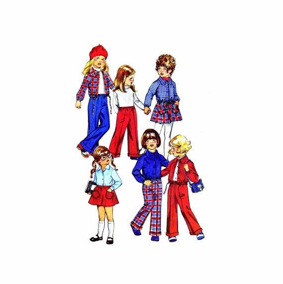 1970s Girls Shirt-Jacket Short Skirt Pants Simplicity 5875 Vintage Sewing Pattern