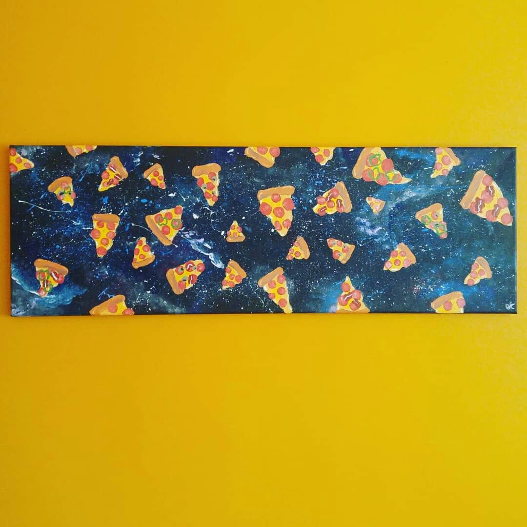Space pizza #art#acrylic#paint#canvas#pizza#alldressed#space#galaxy ...