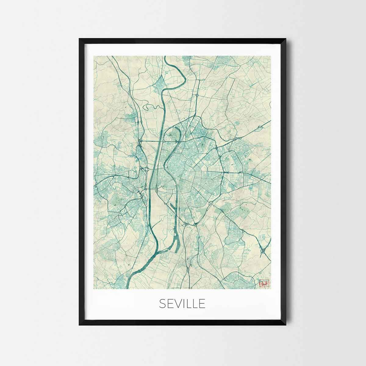 Seville art posters city art map posters and prints cool houses