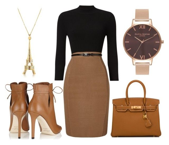 """""""Paris #9847"""" by lizziexy ❤ liked on Polyvore featuring Phase Eight, Jimmy Choo, Hermès and Olivia Burton"""
